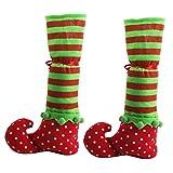 WINOMO 2pz Decorazioni Natalizie Calze Natale Elfo con Nastro Fiocchi Rosso Sedia Gamba Tappi