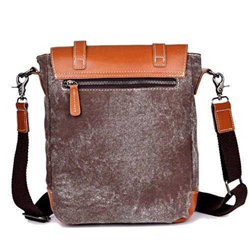 OOLIFENG Borsa borsa messenger messenger tracolla in pelle tela da uomo , black Brown