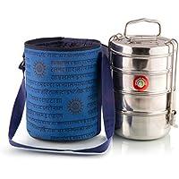 4 Deckel Große Tiffin mit thermisch getrennten Indisch Blau gestaltet Blatt Gemusterte Tiffin Taschenträger