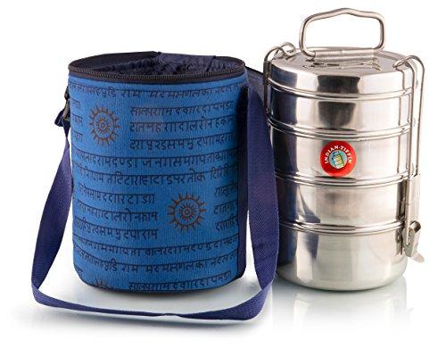 4 Tier Grande Tiffin Con termicamente isolato blu indiano modellata vettore borsa (Designers Lunch Box)