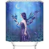 "chezmax hermosa bailarina impresión impermeable baño cortina de ducha con 7ganchos 36""W x 72L, algodón, Gorgeous Fairy, 60"" W x 72"" L"
