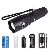 WOLFTEETH 4005EU CREE XML T6 LED Taschenlampe tragbare, 2xaufladbare Batterien 18650, fünf Leuchtvarianten, Taschenlampe super leistungsfähige und Zoomable einstellbarer Intensität Strahl