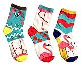 Damen Socken | (3 Paar) | Bunte Verrückte Flamingo Motive | Mehrfarbig | (Größe 35-40)