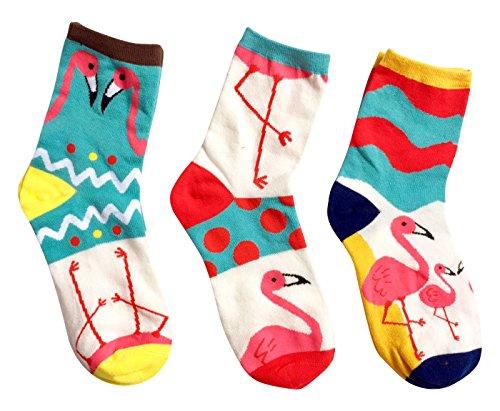 | Damen-Socken | Flamingo-Strümpfe ❤️| lustig Söckchen | Damensocken | Frauen Socken Damen | bunt verrückt niedlich süß Motive Sneaker | Herren | Einheitsgröße | Größe 35-40 | 3 Paar | (Sock Set Ballerina)