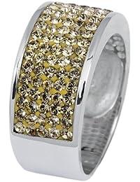 Burgmeister Jewelry Damen-Ring Band 925/-Sterling Silber rhodiniert, Swarovski champagner JBM1127