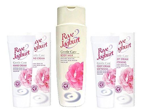 Ensemble ROSE JOGHURT - Lait pour le corps, Crème pour les mains et Crème pour les pieds à l'huile de rose, yaourt et huile d'argan