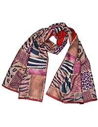 KGM Accessoires Luxueux Double Couche réversible Rouge Large Imprimé  léopard Patchwork Écharpe Châle 22527ebb290