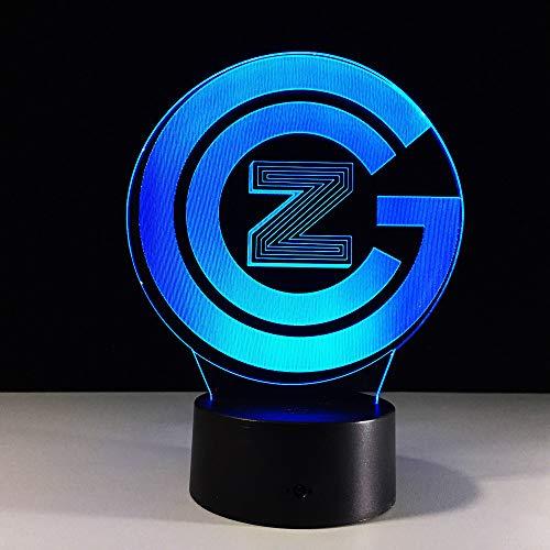 3D Illusion Nachtlampe LED licht Gcz-Logo Schreibtischlampen für Kinder Kinder Dekoration Geburtstag Geschenk,Touch switch (Dunkelheit Leuchten In Der Glas Perlen)