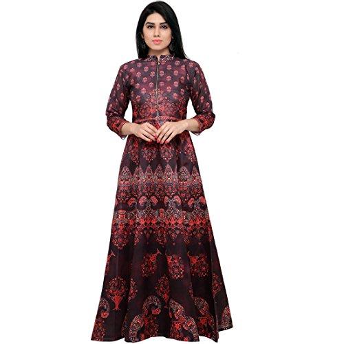 SHELINA Women Maroon Printed Banglory Silk SemiStitched Partywear Dress