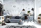 Lotus Weiß Tropfen Herzen Wasser - Wallsticker Warehouse - Fototapete - Tapete - Fotomural - Mural Wandbild - (3509WM) - L - 152.5cm x 104cm - VLIES (EasyInstall) - 1 Piece