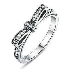 Idea Regalo - Presentski Sterling Silver Bowknot Anello per ragazze BlingBling regalo