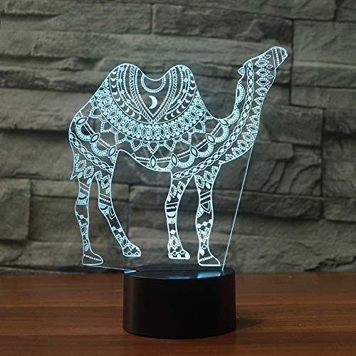 7 Color Desert Camel 3D Lamp Visual Led Night Light Luminaire With  Touch Decor  Baby Kid Sleeping Mood Lamp