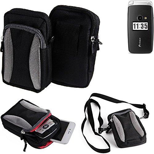 K-S-Trade Für Doro Primo 413 Gürteltasche Umhängetasche Für Doro Primo 413 schwarz-grau + Extrafach mit Platz für Powerbank, Festplatte etc. | Case travelbag Brustbeutel Brusttasche