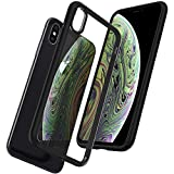 Spigen Coque iPhone XS, Coque iPhone X, [Ultra Hybrid] AIR Cushion [Noir Matte] Transparent/TPU Bumper/Coque pour Apple iPhone X et iPhone XS - (057CS22129)