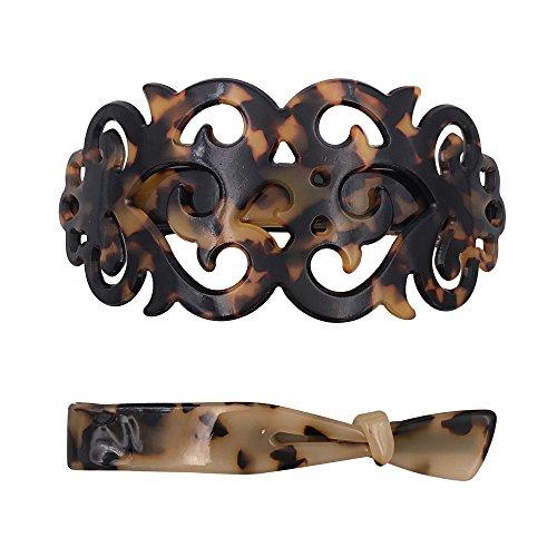 Starke große Haarspange Barrette + Haarklemme Set für Dickes Haar Schildkröten Muschel Muster für Frauen Damen