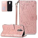 FNBK - Funda para Huawei Mate 20 Lite, color oro rosa, diseño de elefante, de piel, con tapa, estilo libro, con función atril, tarjetero, oro rojo