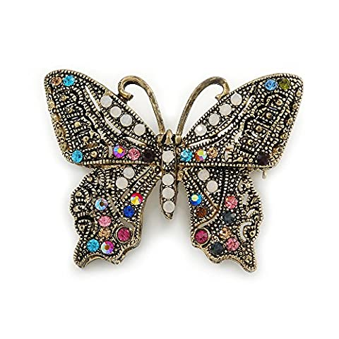 Marcasite Multicoloured Butterfly Brooch In Bronze Tone Metal - 47mm W