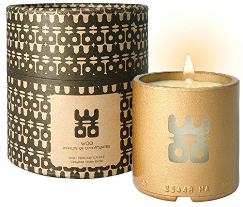 Colección Lucky Candle WOO | Vela Aromaterapia Eco de Cera de Abeja Hecha a Mano | Preciosa Caja de Regalo | Rellenable | Fragancia Cherishing Treasure | Ylang Ylang, Sándalo, Mandarina, Pimienta Negra | 25h Combustión
