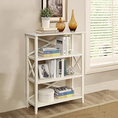 Anna Schelf anzeigen TH Europäische Bücherregal-Regal-Regal-Wohnzimmer-Bücherregal-Boden-Art Lagerregal-Schlafzimmer-Speicher-Regal (Farbe : Milchig weiß) -