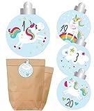 Adventskalender zum Befüllen | Einhorn | Tüten & Aufkleber | Weihnachtskalender selber machen | Papierbeutel & Sticker mit Zahlen | Regenbogen, Wolke, Sterne | Für Mädchen / Kinder