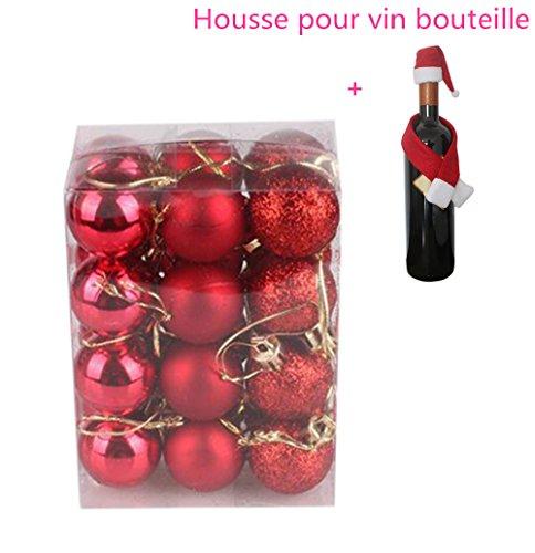 Boule de Noel Sapin de Noel Boules 3cm 24pcs Ambiance Decoration Noel (Rouge)