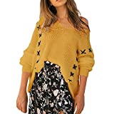 ESAILQ Frauen Winter Langarm Strick Bandage Tops Pullover Bluse(XL,Gelb)