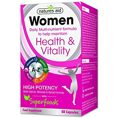 Natures Aid Multi-Vitamins and Minerals Capsules for Women - Pack of 60