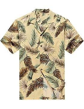 Hecho en Hawaii Camisa hawaiana de los hombres Camisa hawaiana Tropical Hojas en Colores variados