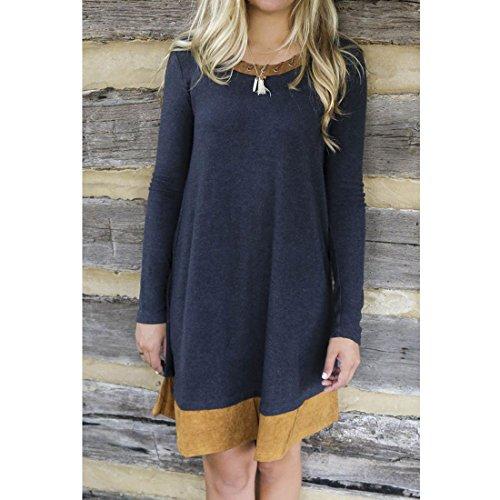 Sitengle Donna Camicia Mini Vestito Allentato Casual Vestito Manica Lunga Shirt Autunno Inverno Bluse Contrasto di Colore Pullover Camicia Tops Blu