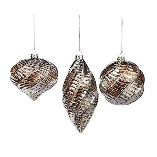 Palline di natale in vetro in forma di () bronzo swirl 10cm decorazione di natale–set di 3? nove per 2016
