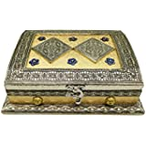 Sarangware Rajwadi Wooden Germen Oxidised Golden Color Meenakari Dry Fruit Box With 4 Compartment, Sweet Box, Chocolate Box, Gift Box, Wedding Function For Home