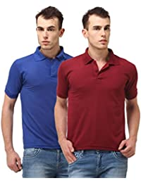 ANSH FASHION WEAR Regular Fit Polo T-shirt Combo For Men - Half Sleeves Casual Men's Polo - Set Of Two - Royal...