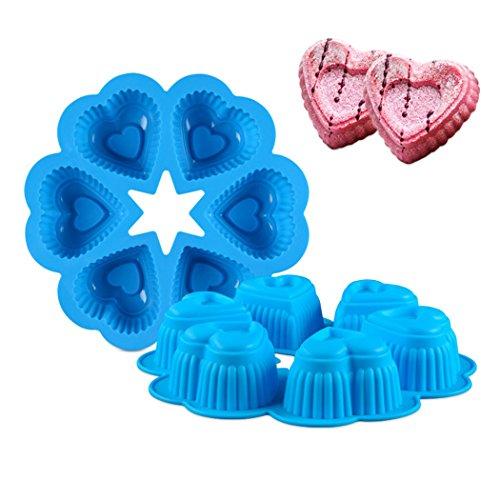 (JasCherry Silikon Backform für Schokolade, Cupcakes, Kuchen, Muffinform für Muffins, Pudding, Eiswürfel und Gelee - Herzform #2)