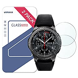 Gear S3 Screen Protector, Wimaha 2 Pack Samsung Gear S3 Tempered Glass Screen Protector For Samsung Gear S3 Frontier & Samsung Gear S3 Classic Ultra Clear No Bubbles