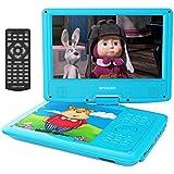 9.5'' Tragbarer DVD-Player, 5 Stunden Akku, schwenkbaren Bildschirm, unterstützt SD-Karte und USB, mit 1.6M Auto-Ladegerät und Stromadapter (Blau)