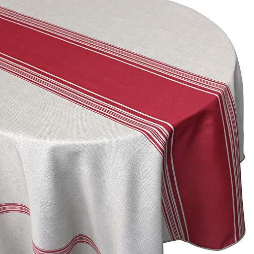 Nappe ronde 180 cm imprimée 100% polyester BISTROT Rouge