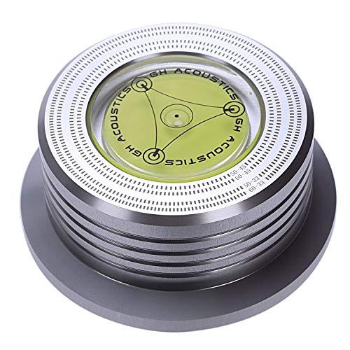 Mucjun Universal 50 / 60Hz Lp Schall Platte Audio Platten Spieler Stabilisator Clamp Aluminium Gewicht Clamp mit Test Geschwindigkeit Blasen (Silber)