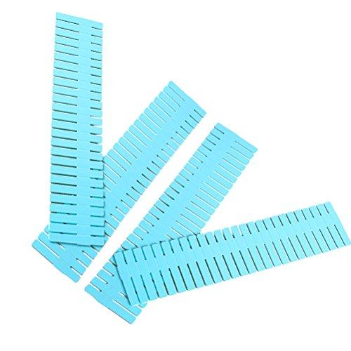 BESTOMZ Organizer Cassetti di plastica regolabile DIY per portaoggetti per credenza cucina camera 32.4x 7cm 4pezzi (Blu)