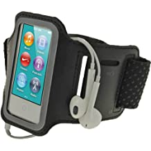 iGadgitz - Brazalete Negro en Neopreno antideslizante Deporte Gimnasio Trotar para Apple iPod Nano 7ª Generación 16GB