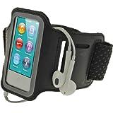 igadgitz Schwarz Reflektierende Anti-Rutsch Neopren Sports Armband Oberarmtasche Tasche Schutz Hülle Etui Case für Apple iPod Nano 7. Generation 16GB 7G