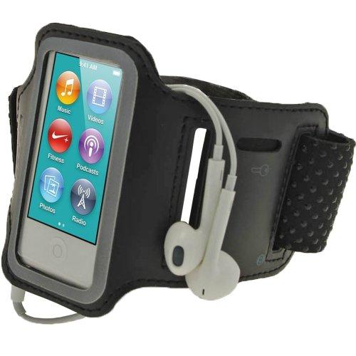 Nano Cases Generation Ipod 6. (igadgitz Schwarz Reflektierende Anti-Rutsch Neopren Sports Armband Oberarmtasche Tasche Schutz Hülle Etui Case für Apple iPod Nano 7. Generation 16GB 7G)