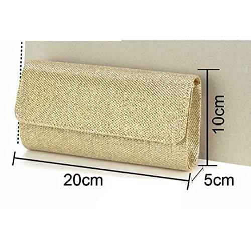AiSi Damen Glitzer modern kleine Abendtasche Clutch Party-bags Umhängetaschen Handtasche, mit Magnetverschluss und Zusatzkette Gold