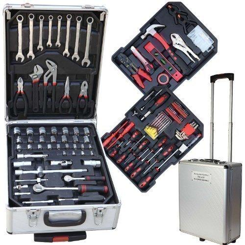 187 TLG Werkzeugkoffer Werkzeugkiste im Alukoffer mit Trollyfunktion Chrom Vanadium