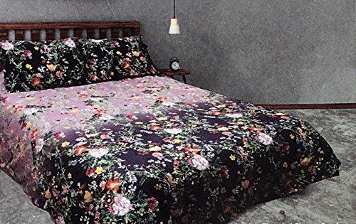 ing 3-teilig Doppelbett Bettwäsche Tröster Set für Creme Reichhaltige Floral Wild Flowers Muster in Shades of Lila Orange Rot Pink Grün auf Lavendel mit Gelb Vögel ()