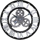 Jcw 19.7'(50CM) Redondo Reloj de Pared,Antiguo Hecho a Mano de Madera Vintage 3D Diseño de Gear (Silver)