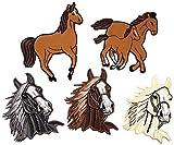 i-Patch Patches - 0036 - Stickerei - Applikation - Aufnäher - Pferd - Stute mit Fohlen - Pferdeköpfe - Aufnäher Patches - Aufbügler - Patches Zum aufbügeln - Applikation Zum aufbügeln - Iron-on
