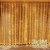 Quntis 300 LEDs Lichterketten Vorhang 2m x 3m, IP44 Wasserfest Innen Außen mit Stecker, 8 Modi mit Memory-Funktion, Dekobeleuchtung für Weihnachten Party Hochzeit Geburtstag Garten Fenster