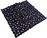 Brillo Negro PVC Duradero Fácil Limpieza Seguro Ducha Baño Felpudo 51 X 53cm - 21 X 22