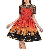 VEMOW Ausverkauf Angebote Frau Kostüm Mode Halloween A-Linie Spitze Kurzarm Party Casual Täglichen Vintage Kleid Abend Party Kleid(Orange, EU-36/CN-M)