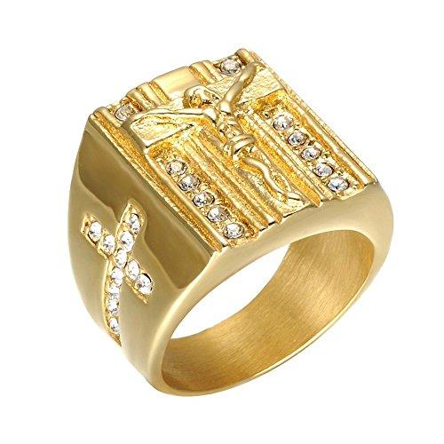 BOBIJOO Jewelry - Anello di Gesù la Croce di Strass Anello in Acciaio Dorato Finitura Oro Religione Cattolica - 14 (7 US), d'oro - Acciaio Inossidabile 316